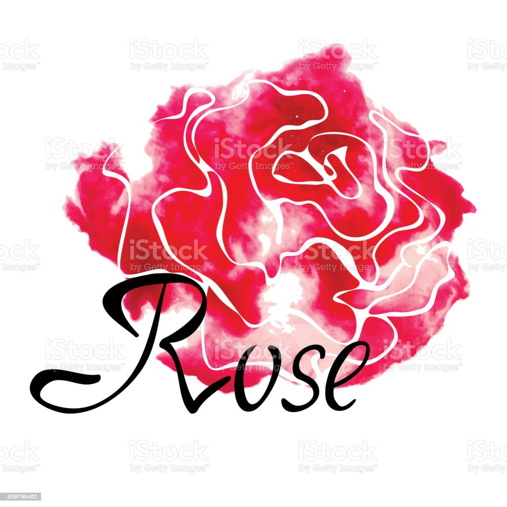 Vector colorful symbol with watercolor rose