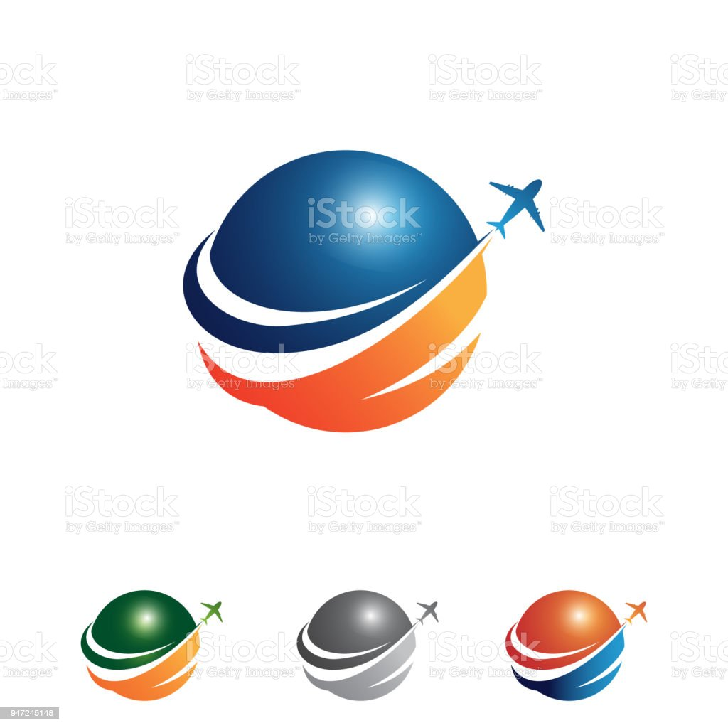 Vector colorful travel agency icon design idea with illustration globe and airplane vector art illustration