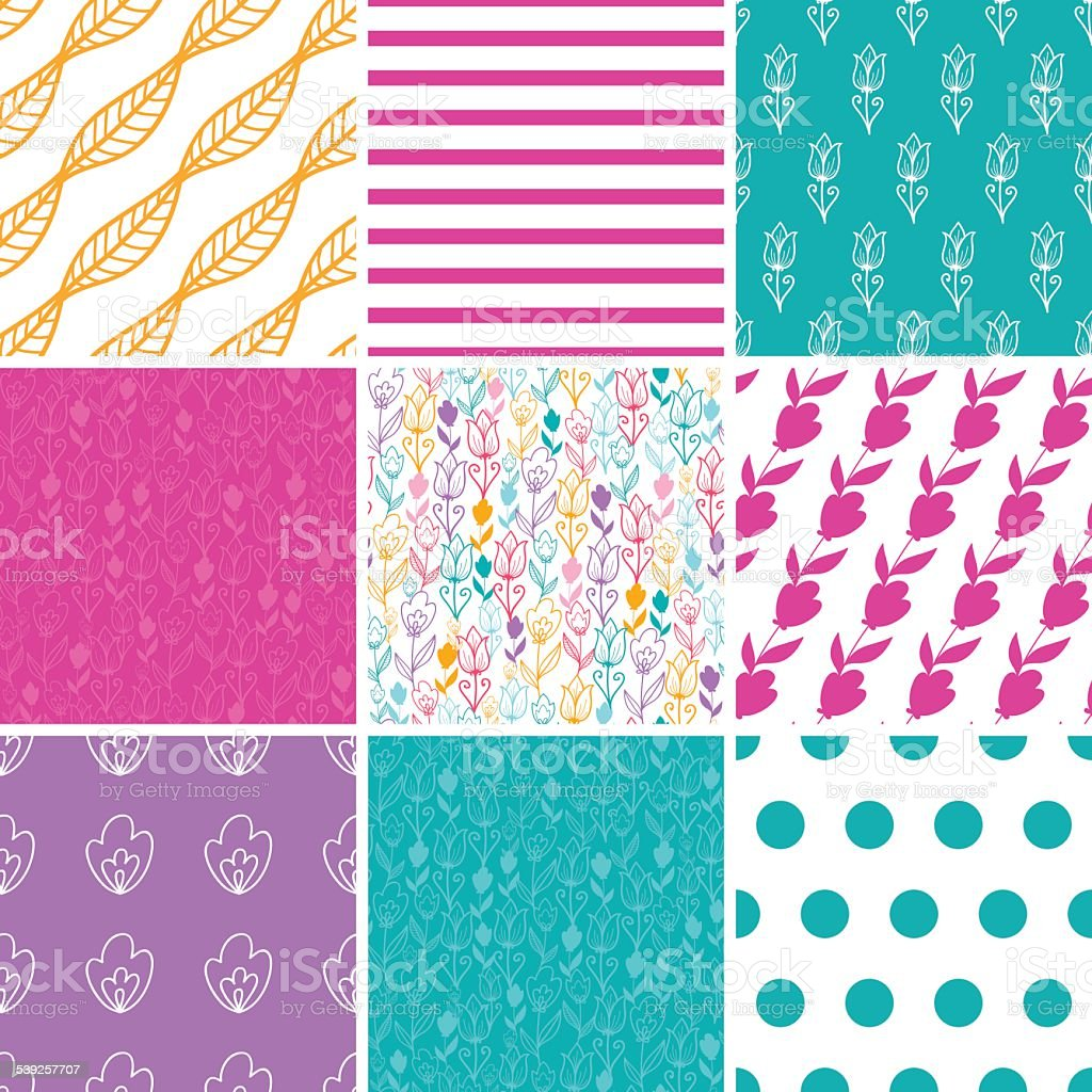 Vector Colorful Tulip Flowers Set of Nine Matching Repeating Patterns vector art illustration