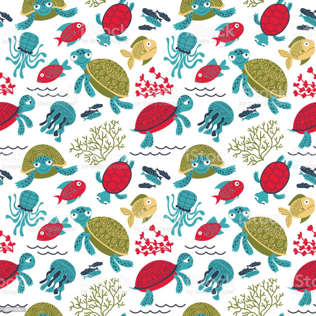 Vector colorful turtles underwater with fish seamless pattern vector art illustration