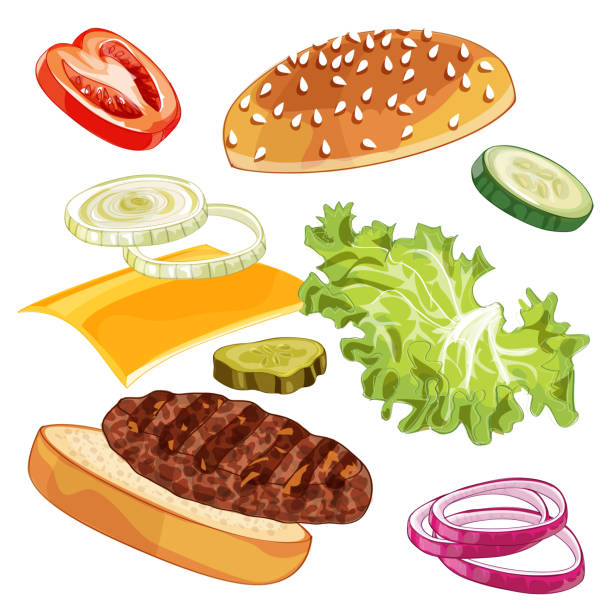 Vector colorfull burger ads over any background Vector realistic illustration pattern of jumping burger, delicious exploded hamburger with ingredients lettuce, onion, patty, tomato, cheese, bun isolated on white background pickle slice stock illustrations