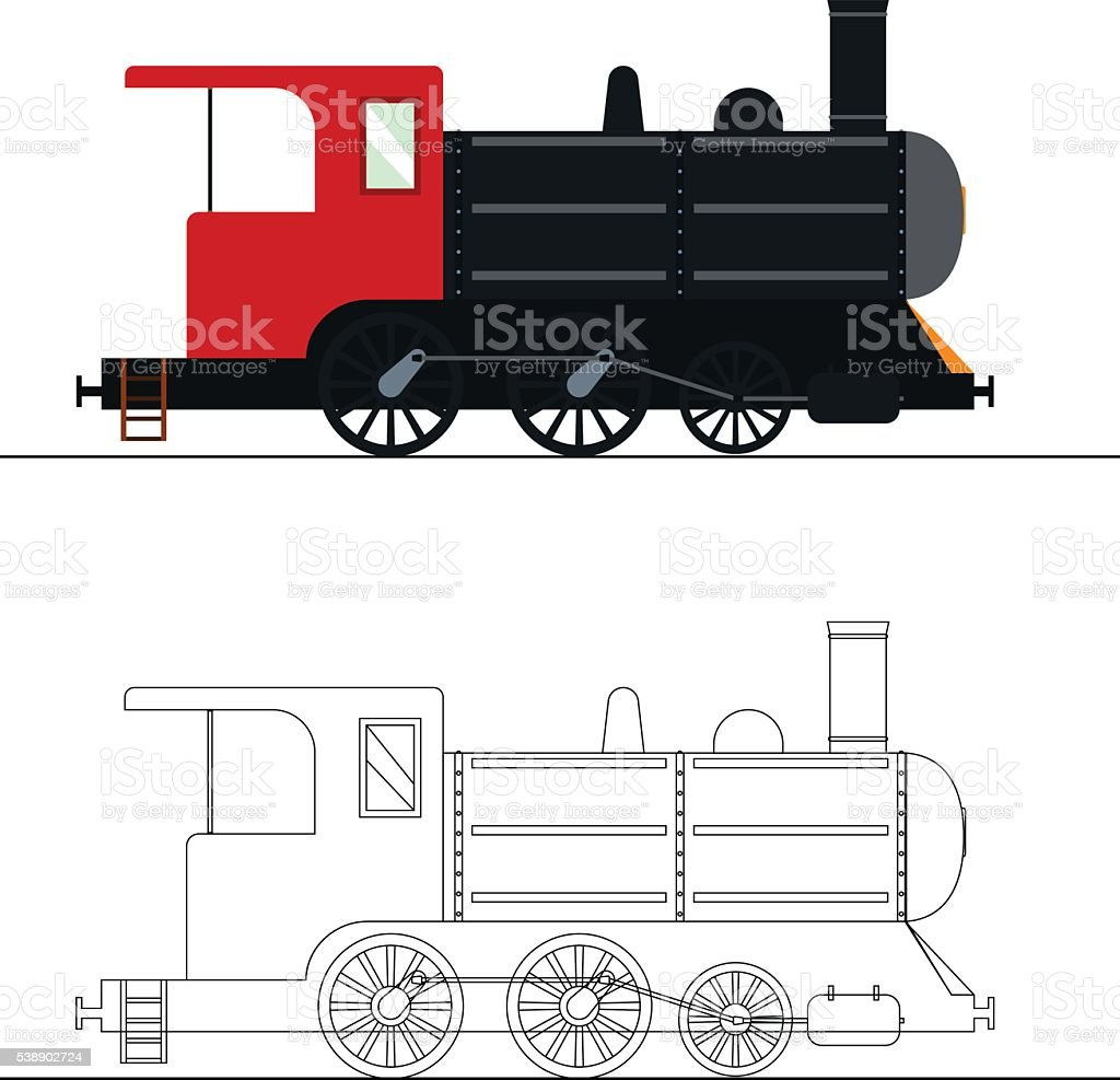 Vector Coloring An Old Steam Locomotive Stock Art More Diagram Of Engine Royalty Free