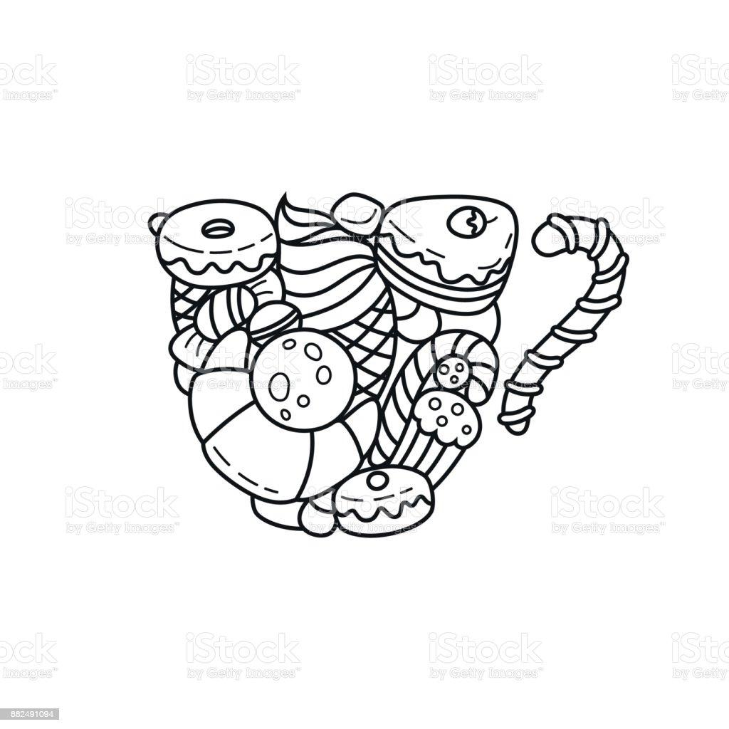 Coloriage Ingredients Gateau.Coloriage De Vecteur Reservez Illustration Adulte Meditation Et Se