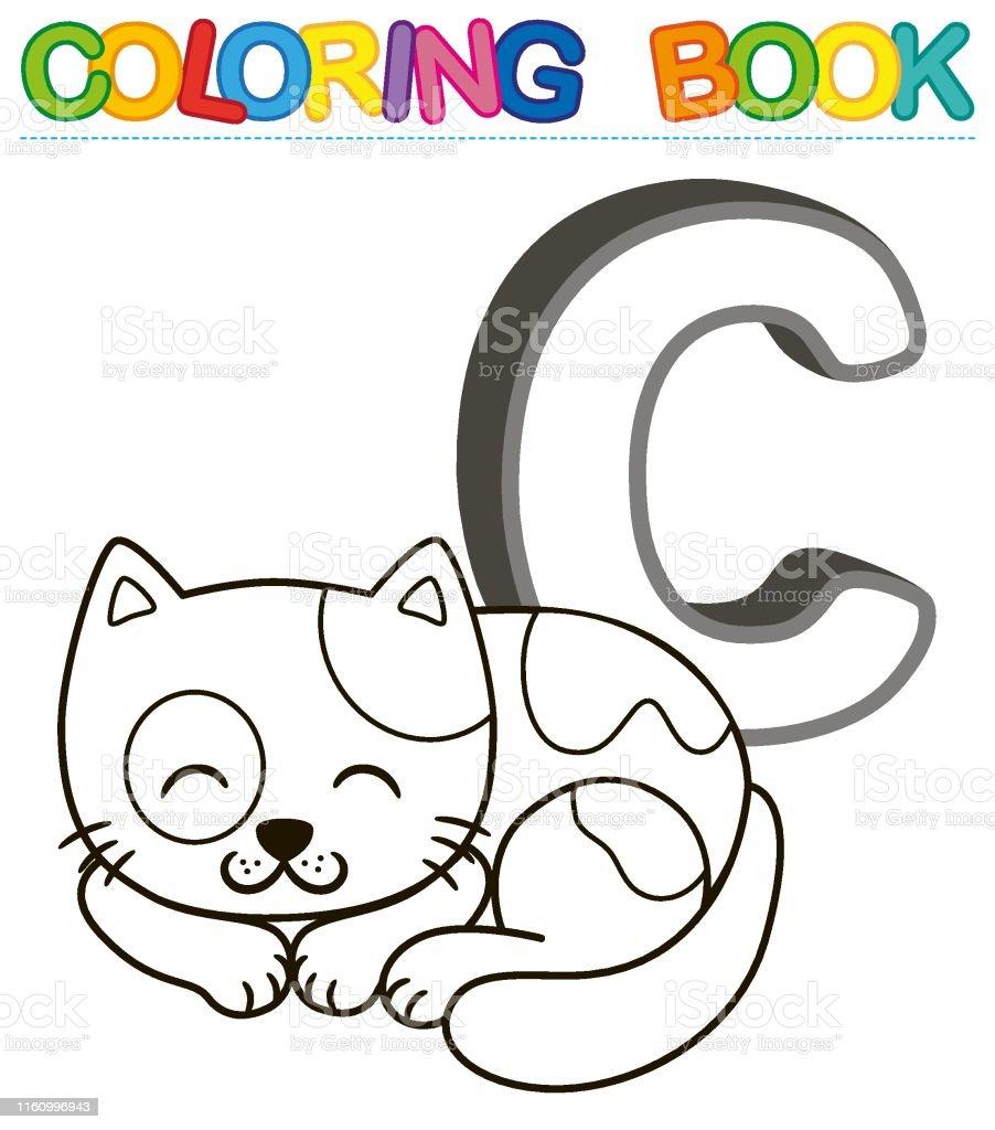 Ilustracion De Alfabeto De Libro Para Colorear Vectorial Con