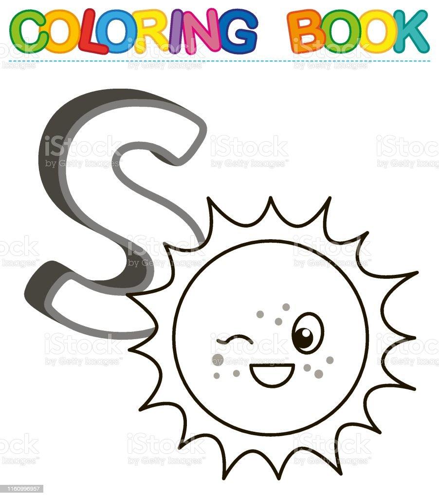 Ilustración De Alfabeto De Libro Para Colorear Vectorial Con