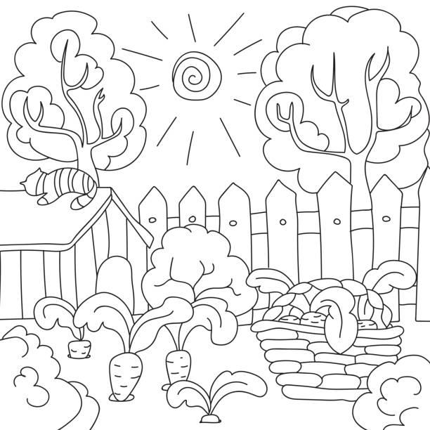 庭の本のニンジンを着色ベクトル - 楽しい 洗濯点のイラスト素材/クリップアート素材/マンガ素材/アイコン素材