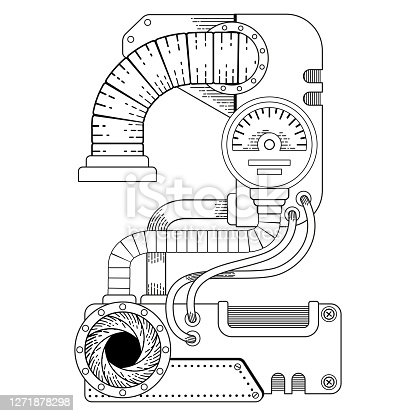 istock Vector coloring book for adults. Steampunk mathematical symbol two. Mechanical number made of metal gears and various details on white background. 1271878298