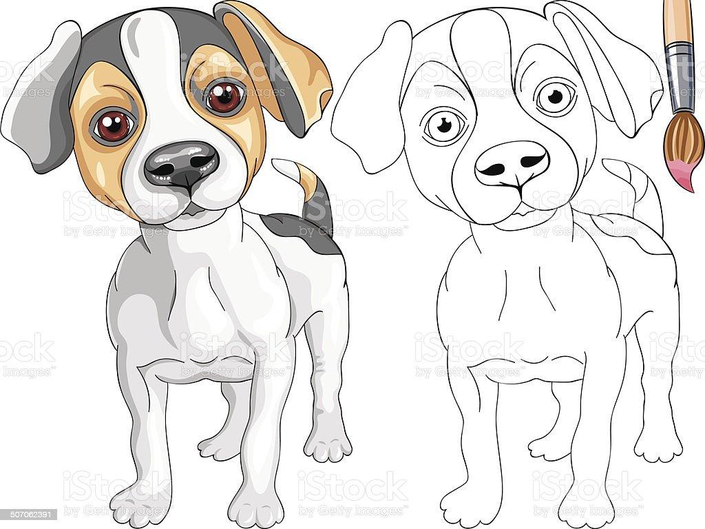 Ilustración de Vector Libro Para Colorear De Sonriendo Cachorro ...