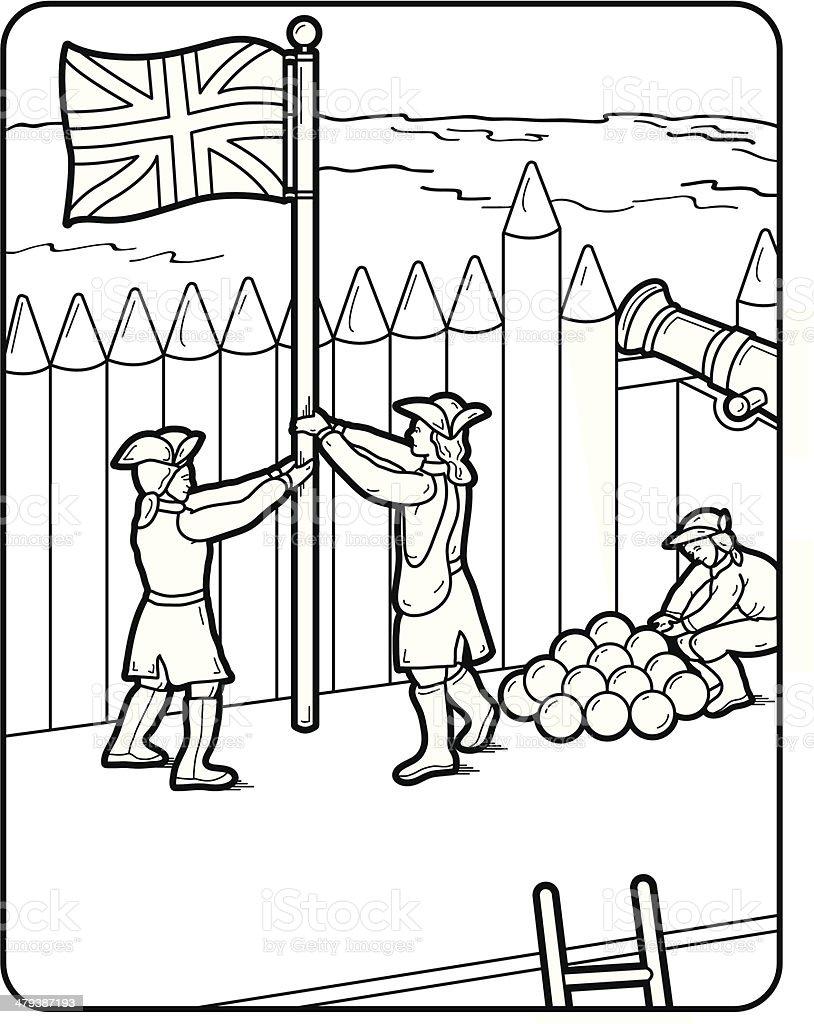 Ilustración de Vector Libro Para Colorear Página Cannon Bandera y ...
