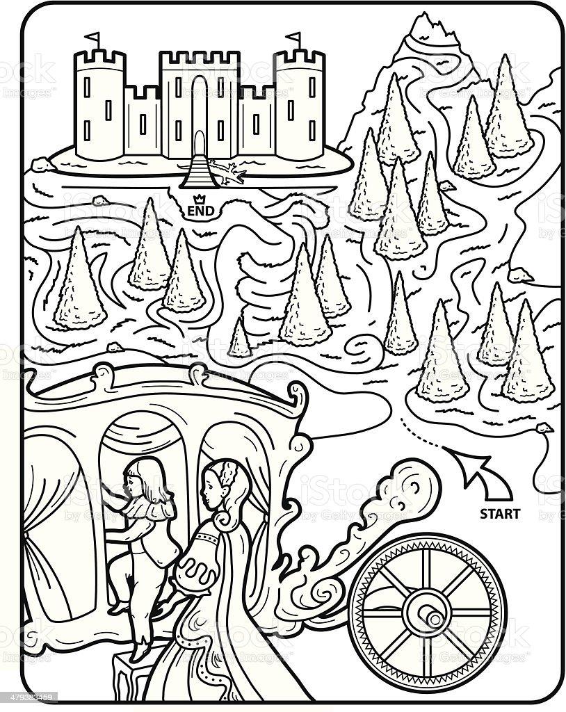 Vector Coloring Book Page, Maze, Royal vector art illustration
