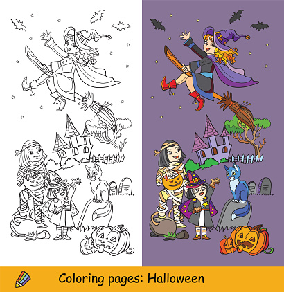 Vector coloring halloween illustration mummy and witch