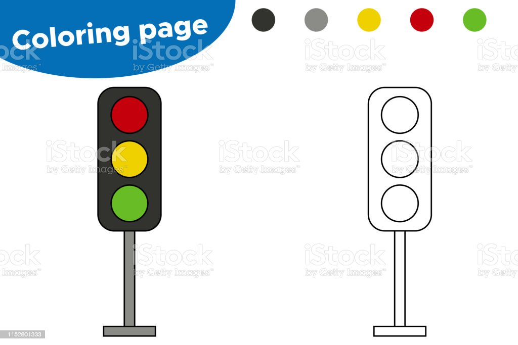 Vector Coloring Page Cartoon Traffic Light Stock