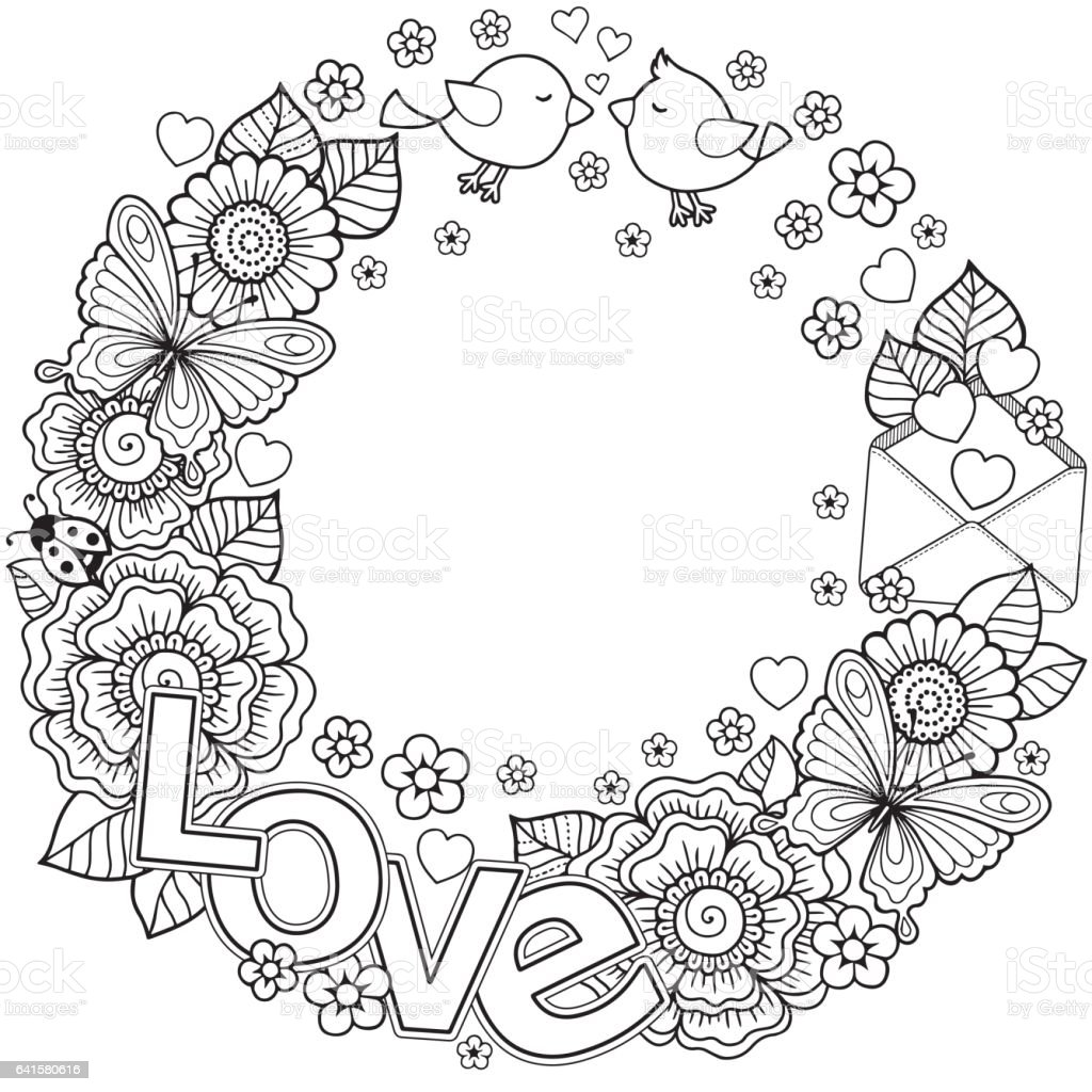 Vector Coloring Page For Adult Rounder Frame Made Of Flowers Butterflies Birds Kissing