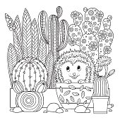 Vector Coloring Page Linear Image On White Background Cute Cactus