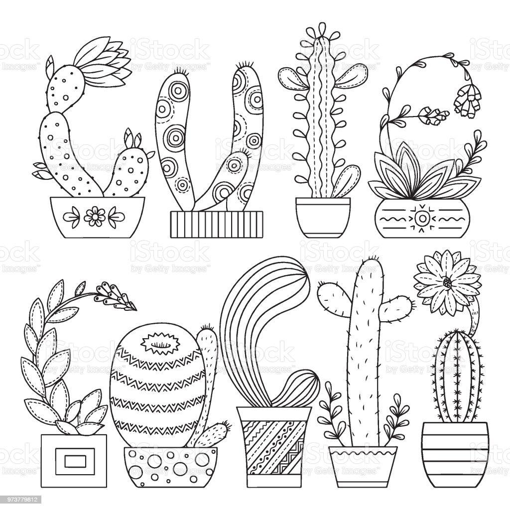 Vetores De Pagina Para Colorir De Vetor Imagem Linear Cacto Bonito