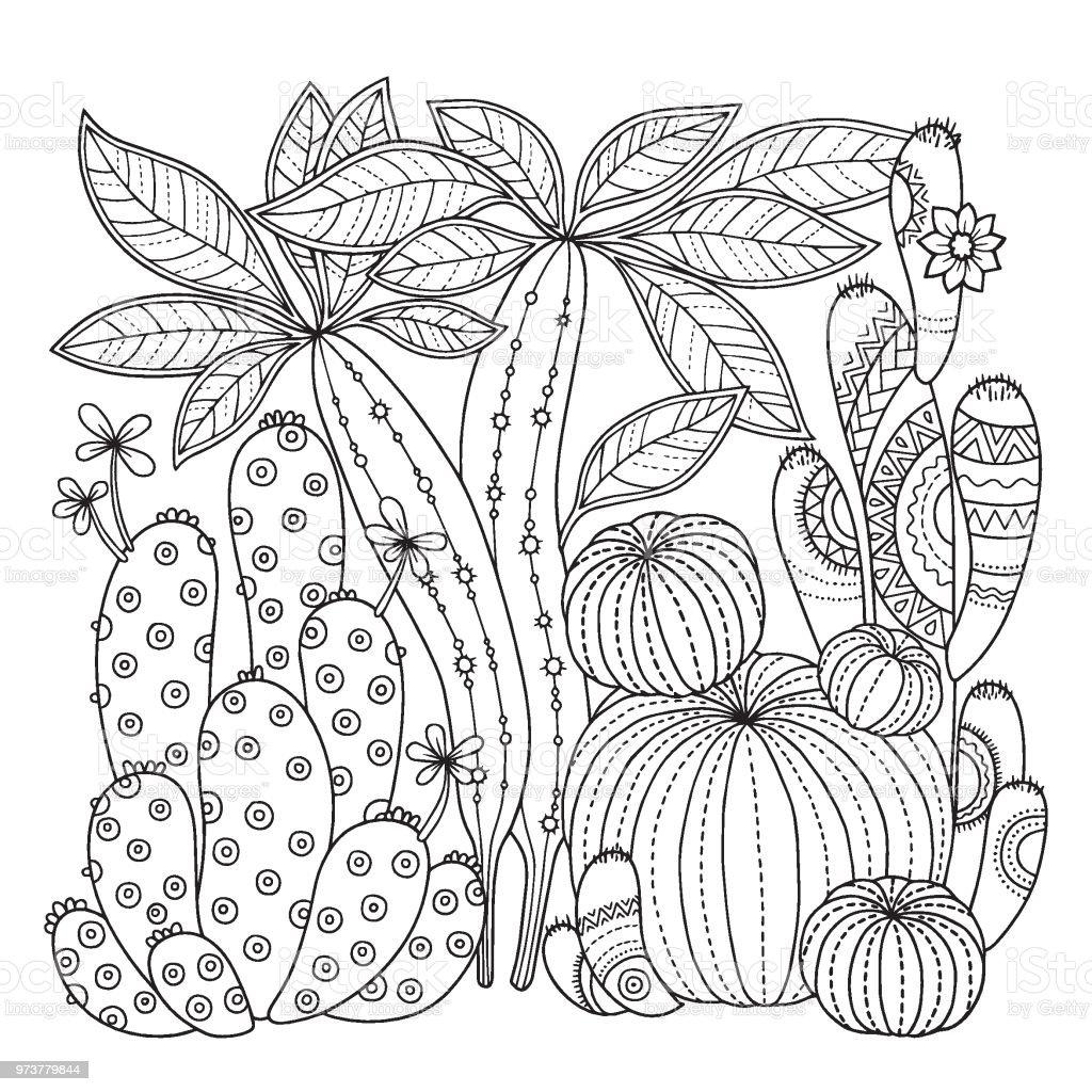 Ilustración De Página Para Colorear De Vector Imagen Lineal Sobre Nopal Lindo Fondo Blanco De Página Para Libro De Colorear Contorneada Imagen De
