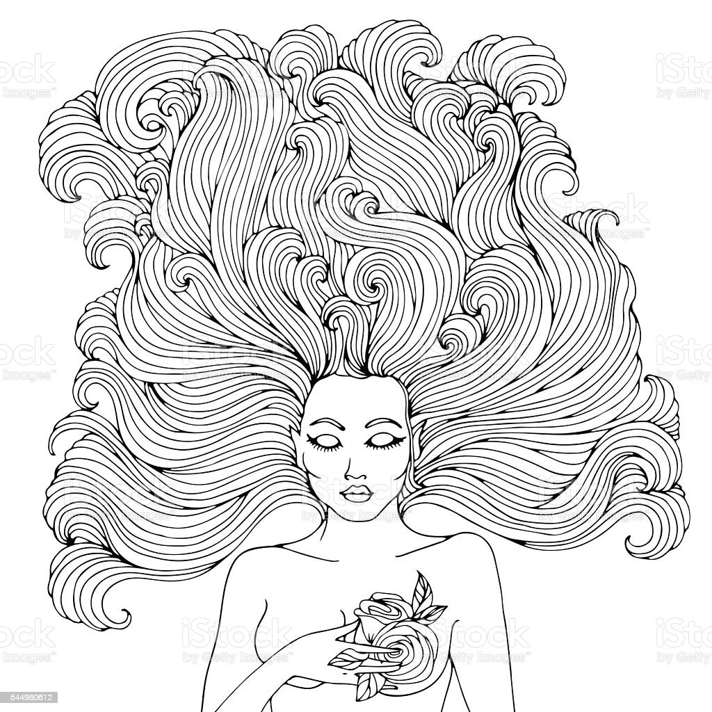 Vector Coloring Page Mystical Forest Fairy Stock Vector Art & More ...