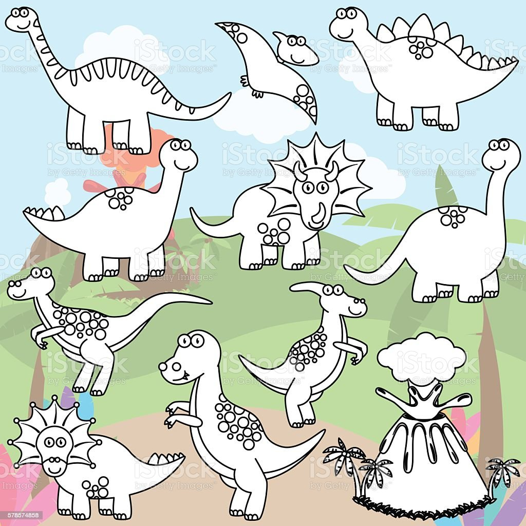 Cartoon Dinosaur Coloring Pages - Coloring Home | 1024x1024