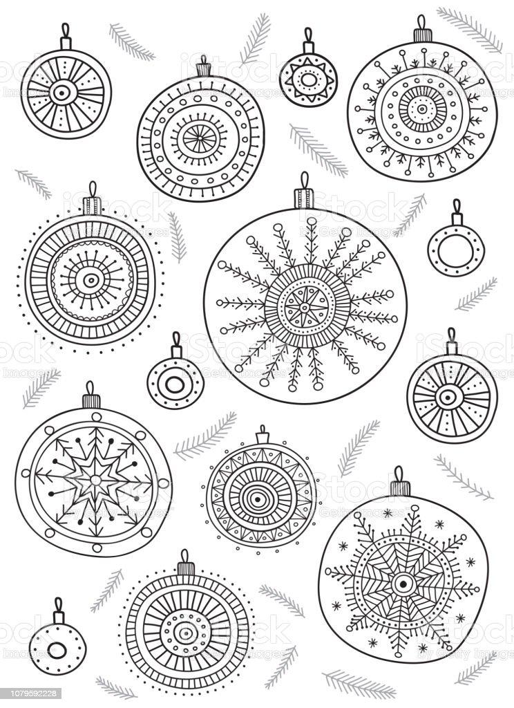 Imagenes De Adornos De Navidad Para Colorear.Ilustracion De Vector Para Colorear Pagina Con Adornos De