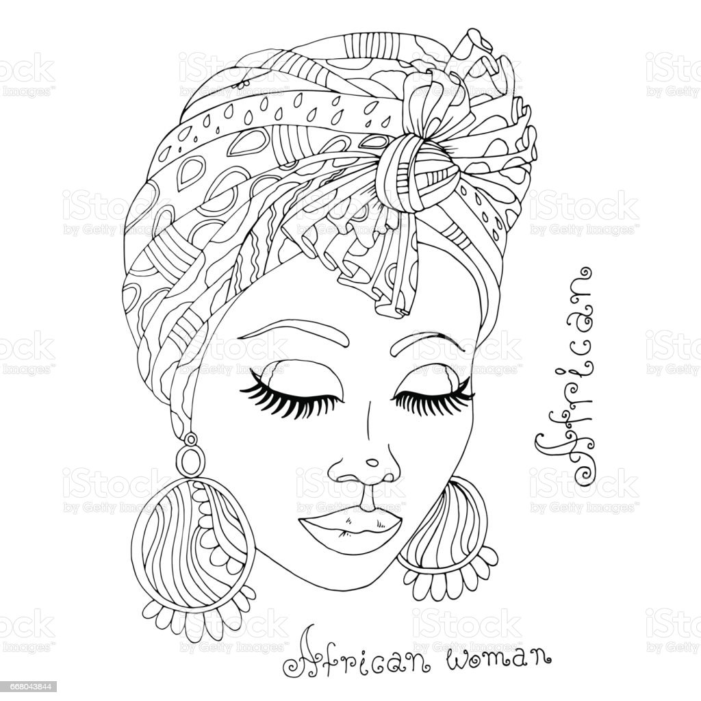 Vector coloring portrait of a beautiful African girl in a scarf on her head vector art illustration
