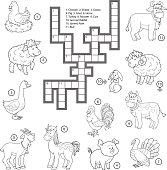 Vector colorless crossword about farm animals