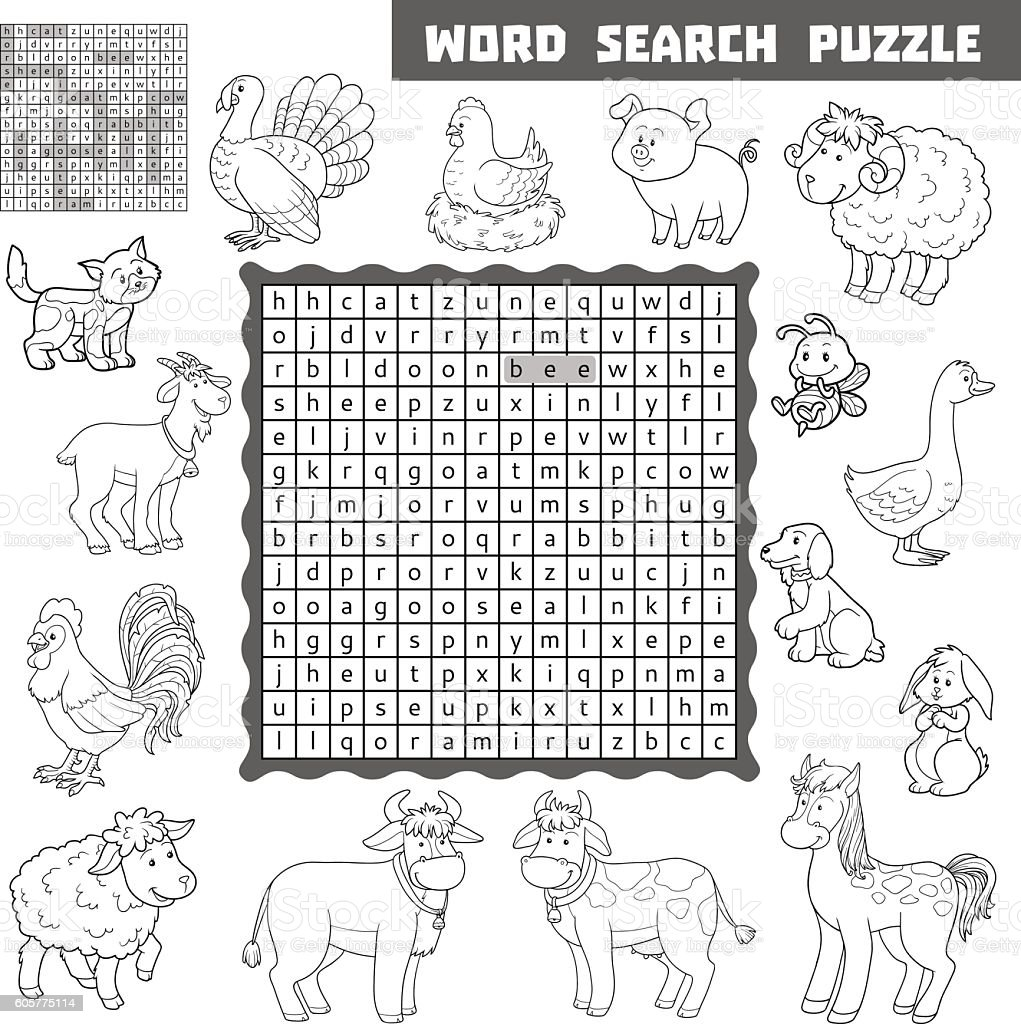 vector colorless crossword about farm animals word search puzzl stock vector art 605775114 istock. Black Bedroom Furniture Sets. Home Design Ideas