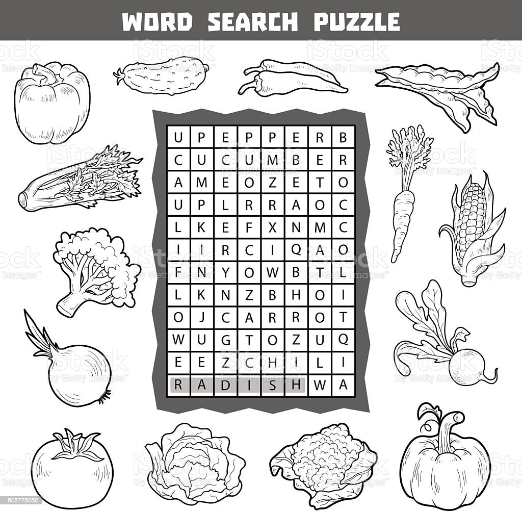 Vector colorless crossword about vegetables. Word search puzzle vector art illustration