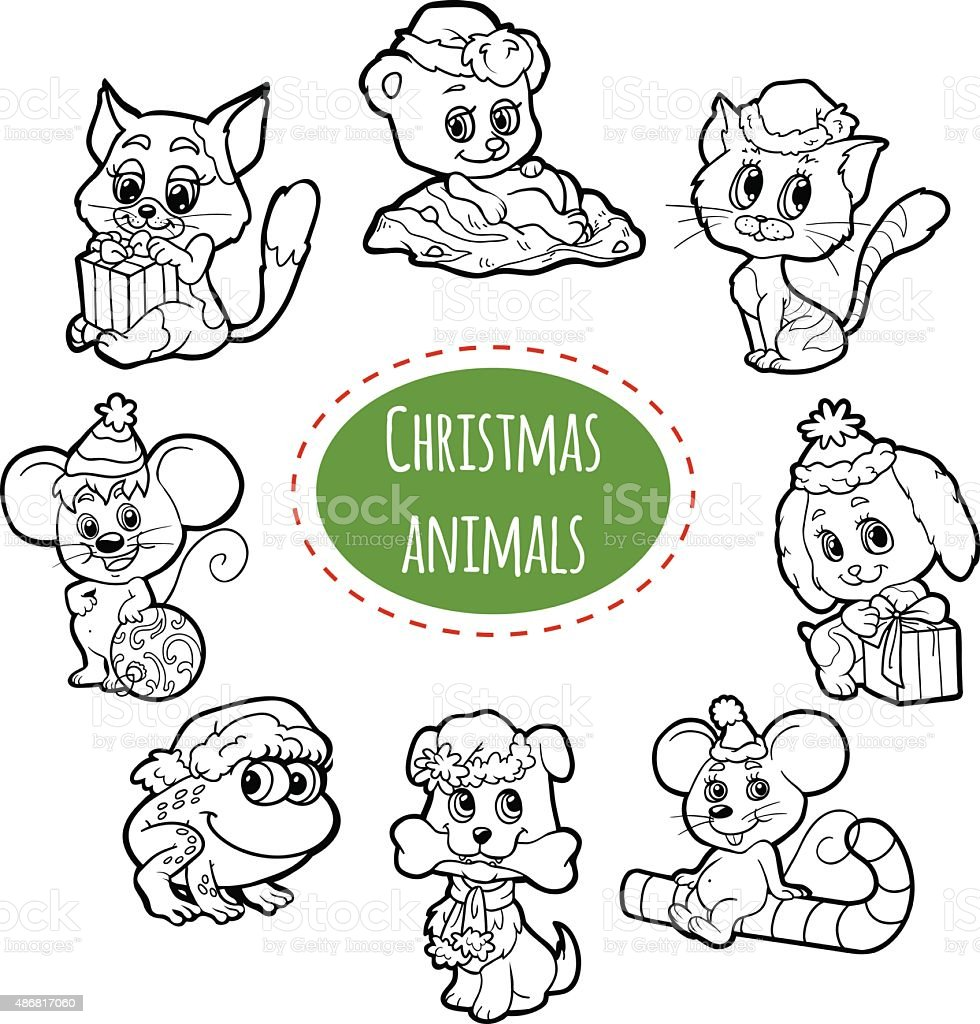 Vector Colorless Set Of Christmas Cute Cartoon Animals Stock Vector ...