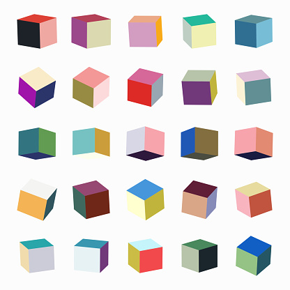 Vector colors box cube pattern collection