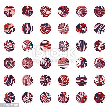 Vector colors stripes circle pattern buttons collection for design