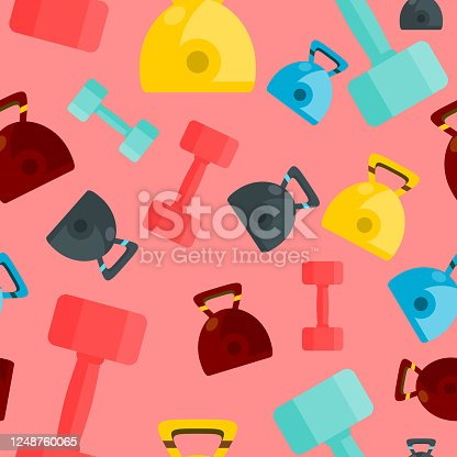 istock Vector colourful kettlebells and dumbbells seamless pattern on pink background, gym equipments. 1248760065