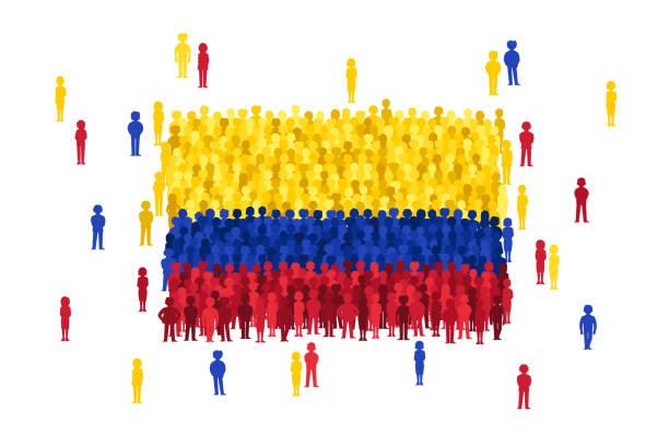 stockillustraties, clipart, cartoons en iconen met vector columbia vlag gevormd door de menigte van mensen van de cartoon - colombia land