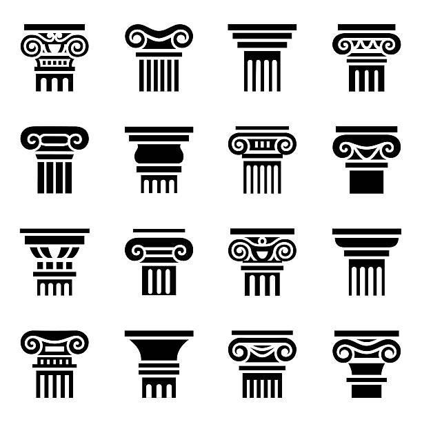 벡터 열 아이콘 세트 - 아치 건축적 특징 stock illustrations
