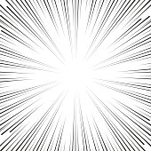 Vector comic book speed lines background. Starburst explosion in manga or pop art style on white.