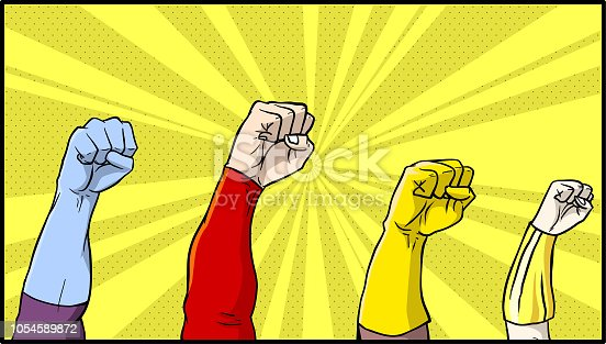 A comic book style illustration of a set of superhero fists raised in the air.