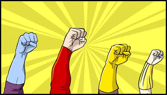 Vector comic book superhero fists