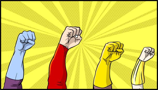 ilustrações de stock, clip art, desenhos animados e ícones de vector comic book superhero fists - super hero