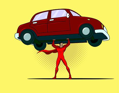 Vector Comic Book Superhero Lifts a Car