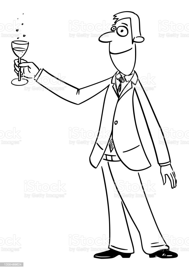 vector comic cartoon of successful man or businessman raising glass of champagne or wine celebrating success stock illustration download image now istock https www istockphoto com vector vector comic cartoon of successful man or businessman raising glass of champagne or gm1205489624 347281483