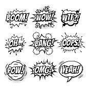 Vector comic speech doodle sketch bubbles set