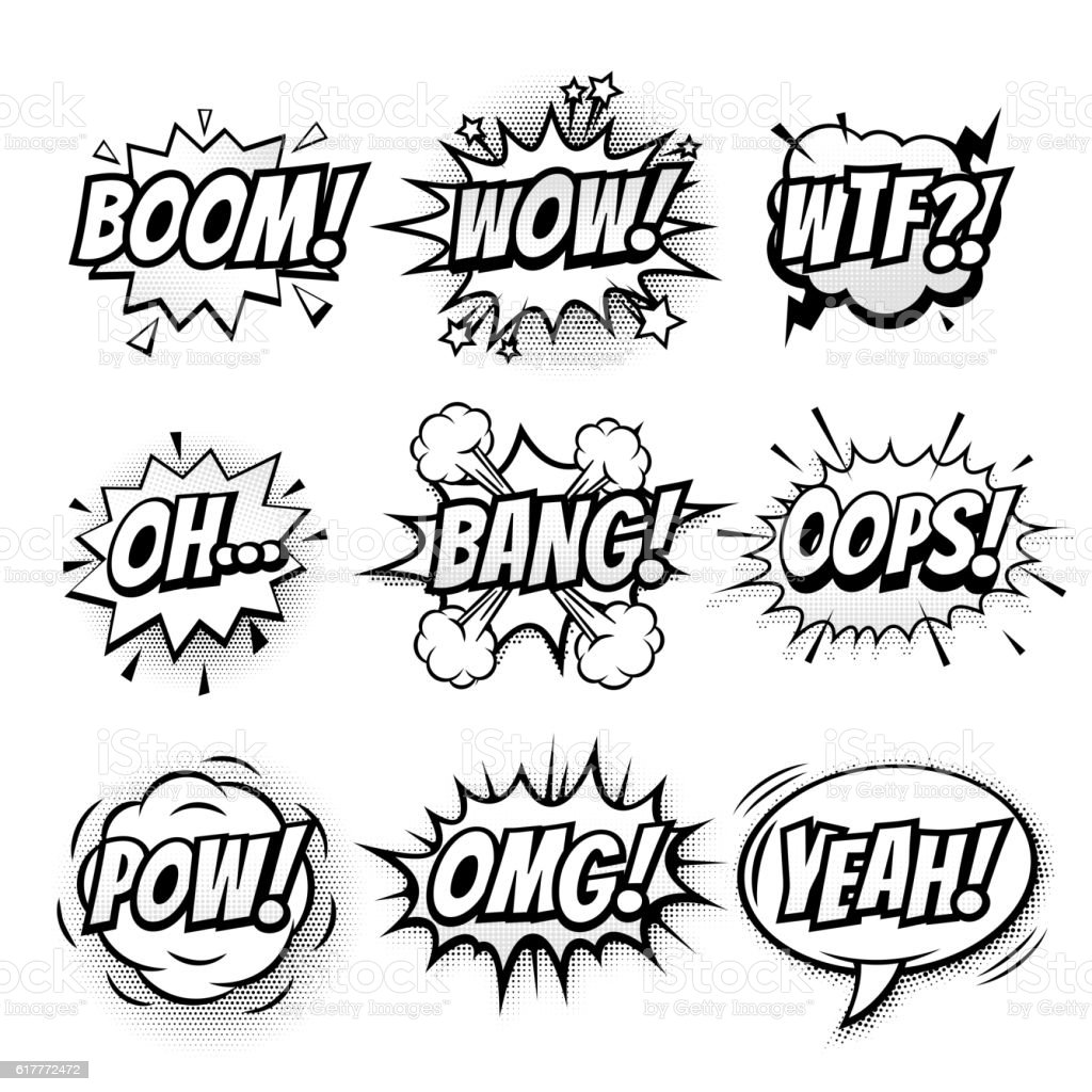 Vector comic speech doodle sketch bubbles set - ilustração de arte em vetor