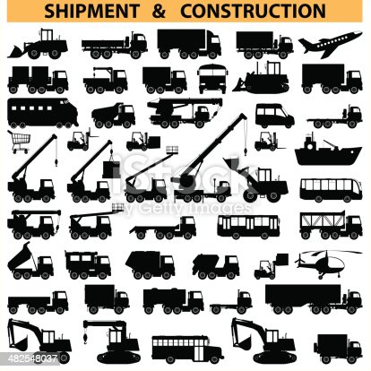 Vector shipment and construction vehicles icons, including truck, forklift, crane and others, isolated on white background