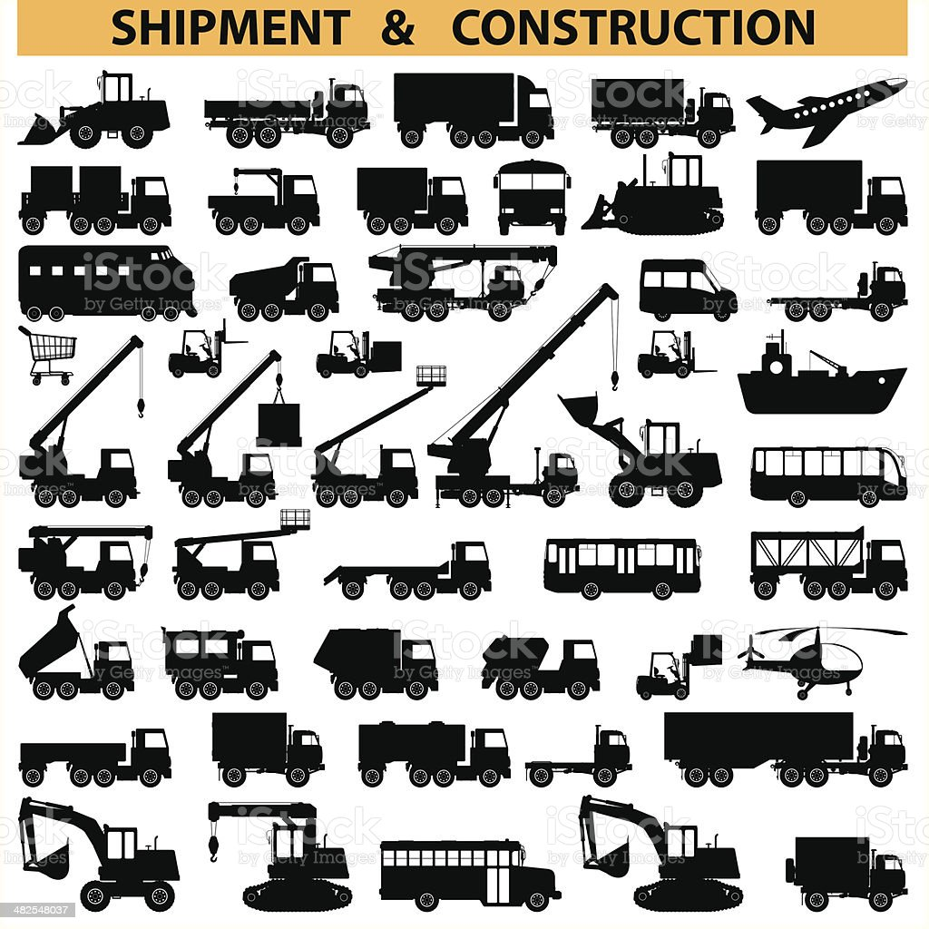 Vector commercial vehicles pictograms vector art illustration