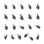 Vector common touchscreen hand gestures set