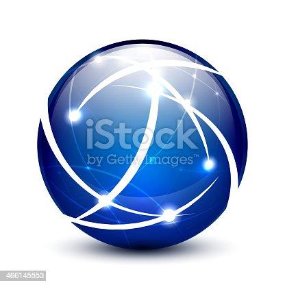 Blue vector communication globe icon concept design