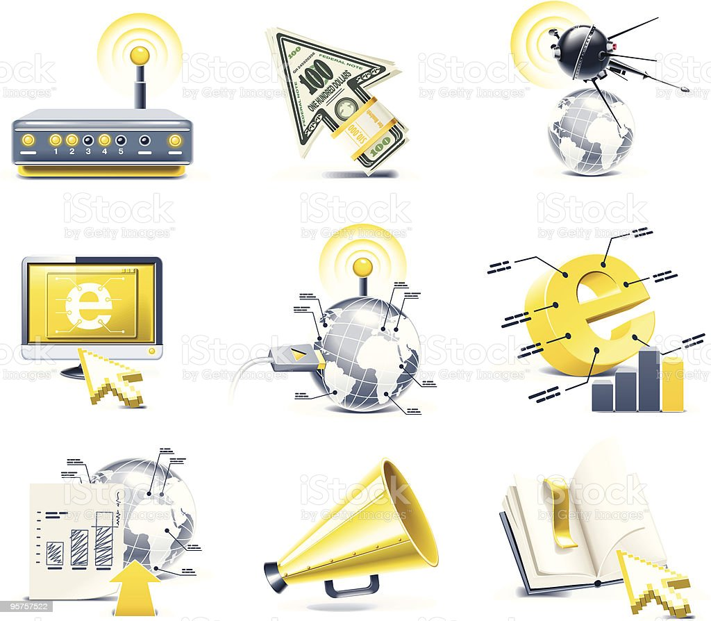 Vector communication icon set. Internet royalty-free stock vector art