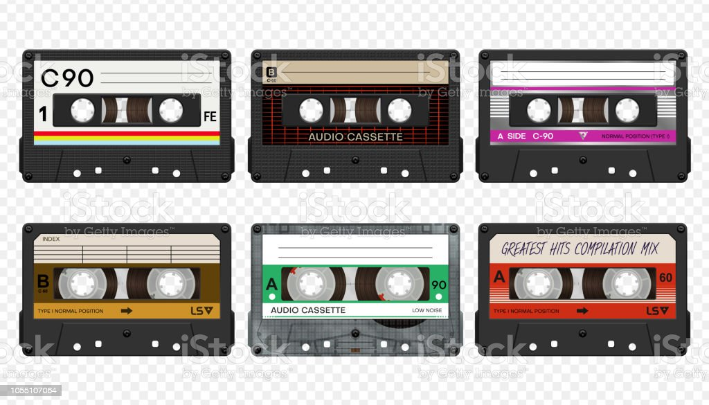 Vector compact audio cassettes collection #2 - Royalty-free 1980-1989 arte vetorial