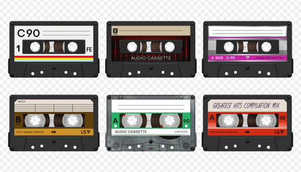 Vector compact audio cassettes collection #2 Vector compact audio cassettes collection #2 tape stock illustrations