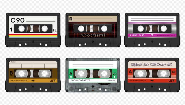 ilustrações, clipart, desenhos animados e ícones de vector compacta coleção de fitas de áudio #2 - fita cassete