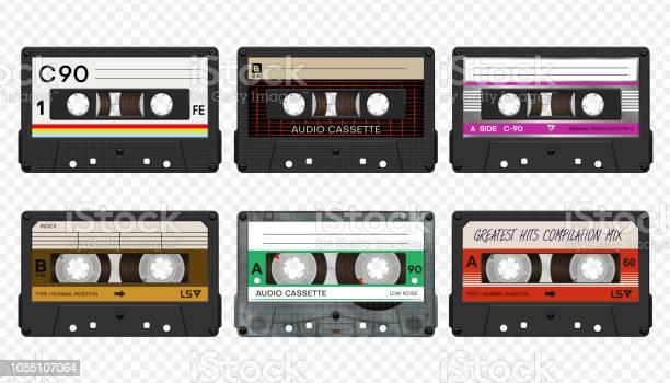 Vector Compact Audio Cassettes Collection 2 - Arte vetorial de stock e mais imagens de 1980-1989